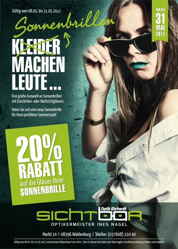 20% Rabatt auf Sonnenbrillengläser vom 8. bis 31. Mai 2017